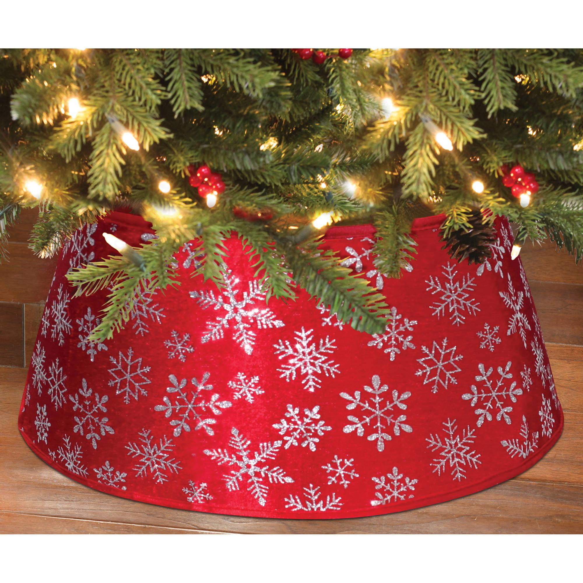 Holiday Time Christmas Decor 22 Red Snowflake Velvet Stand Band Tree Stand Cover Walmart Com Walmart Com