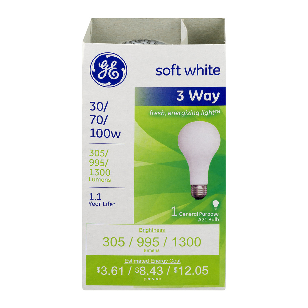 GE Soft White 3 Way 30/70/100W Bulb, 1.0 CT