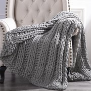 "Cottage Lane Chunky Knit Acrylic Throw Blanket, 50"" x 60"""