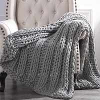 "Cottage Lane Chunky Knit Acrylic Throw Blanket, 50"" x 60"", Gray"