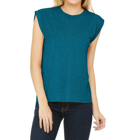 Mafoose Women's Flowy Muscle Tee Top with Rolled Cuffs Heather Deep Teal (Deep Teal Heather)