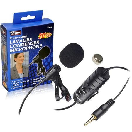 Electret Microphone Element - Canon EOS Rebel T2I Digital SLR Camera External Microphone Vidpro XM-L Wired Lavalier microphone - 20' Audio Cable - Transducer type: Electret Condenser