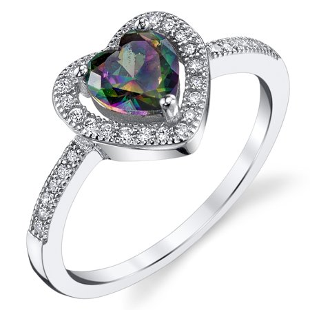 Rainbow Mystic Topaz Heart - Heart Shape Mystic Rainbow Simulated Topaz Halo Sterling Silver Ring with Cubic Zirconia Sizes 5 to 9