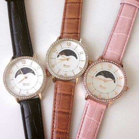 Sun Phase Fashion Watch With Crystals