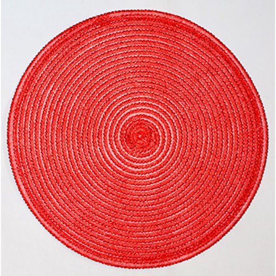 Nantucket Home Round Glitter Placemats 15 Inch Set Of 4 Red