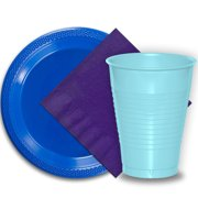 """50 Dark Blue Plastic Plates (9""""), 50 Light Blue Plastic Cups (12 oz.), and 50 Purple Paper Napkins, Dazzelling Colored Disposable Party Supplies Tableware Set for Fifty Guests."""