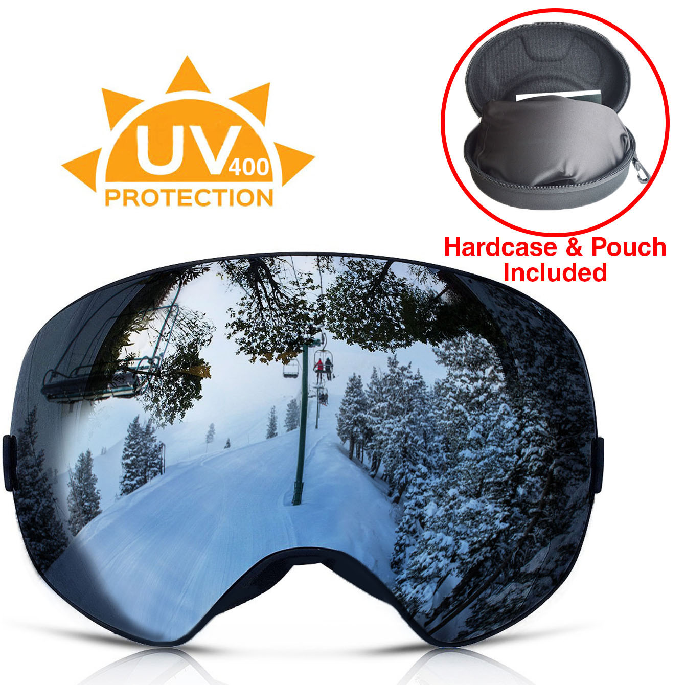 Xspec UV400 Snowboard Ski Snow Goggles w  Detachable Mirror Lens & Case, Black Anti Fog by Clevr