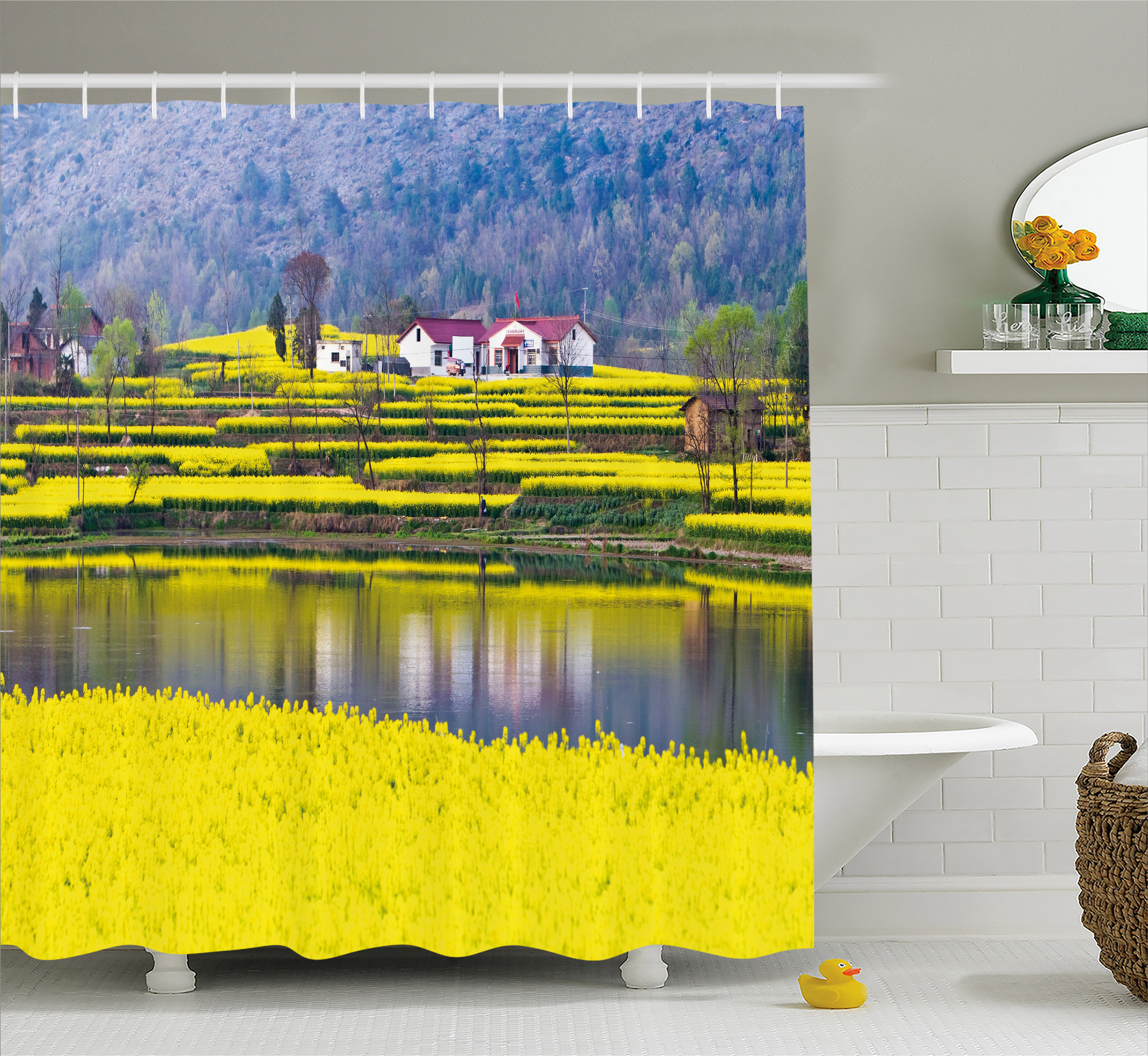 Yellow Flower Shower Curtain, Rural Spring Scenery in Northern Shaanxi China Blossoming Farmland, Fabric Bathroom Set with Hooks, 69W X 75L Inches Long, Yellow Hunter Green, by Ambesonne