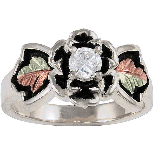 Black Hills Gold Women's CZ Sterling Silver 12kt Gold Leaf Accented Antiqued Ring