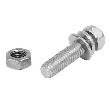 M5 x 20mm 304 Stainless Steel Phillips Hex Head Bolts Nuts w Washers