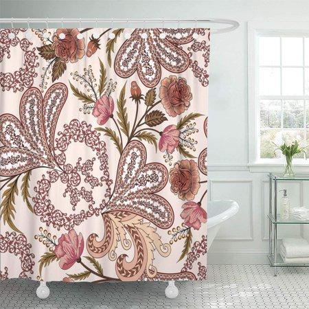 KSADK Beige Intricate Openwork Pattern with Paisley Watercolor Roses in Pink and Burgundy Tones on Light Shower Curtain Bathroom Curtain 60x72 inch