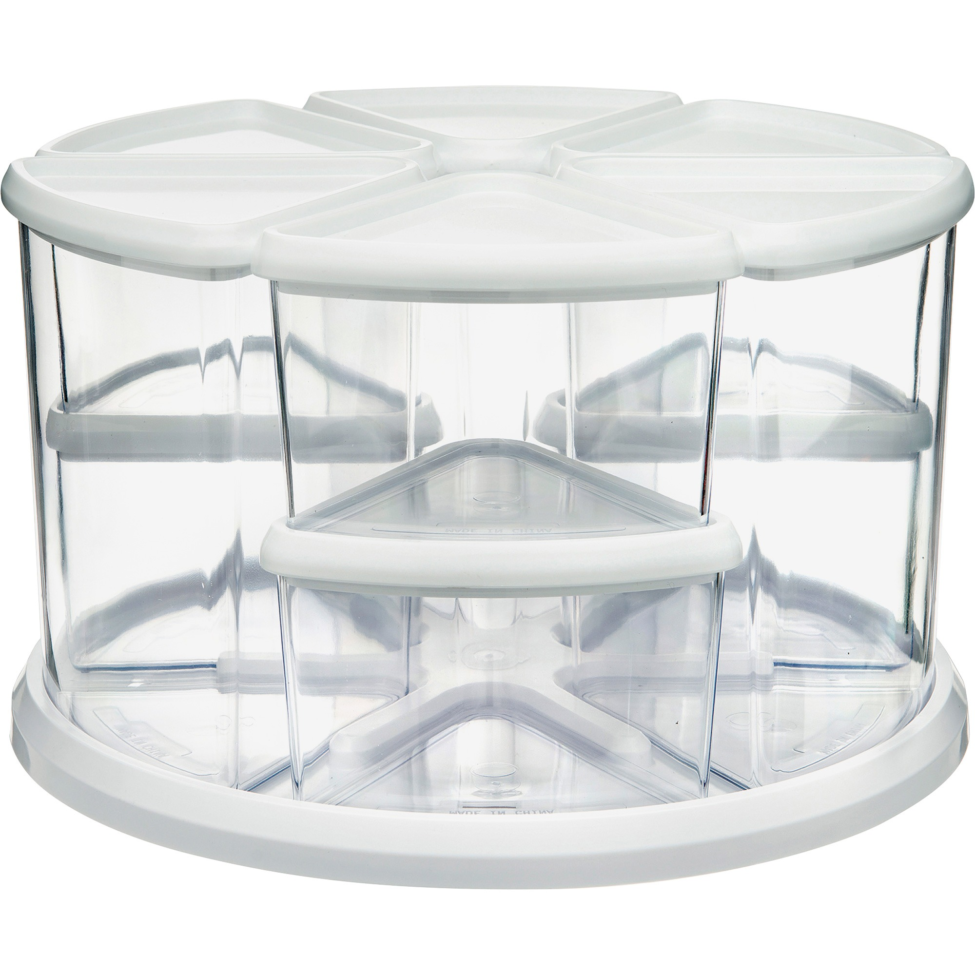 deflecto Nine Canister Carousel Organizer, Plastic, 11 1/8 x 11 1/8, White/Clear