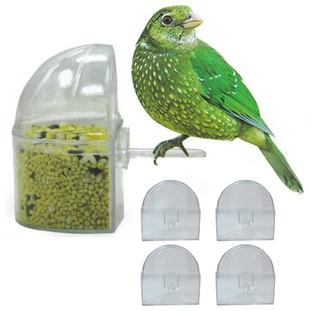 Clean Cup Feeder - 4 Pack Universal Bird Cage Seed Water Food Feeders Clear Heavy Duty Plastic Cups