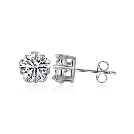 Emma Manor Gold Plated 925 Sterling Silver 5 Prong Plum Blossom Shape Cubic Zirconia Stud Earring