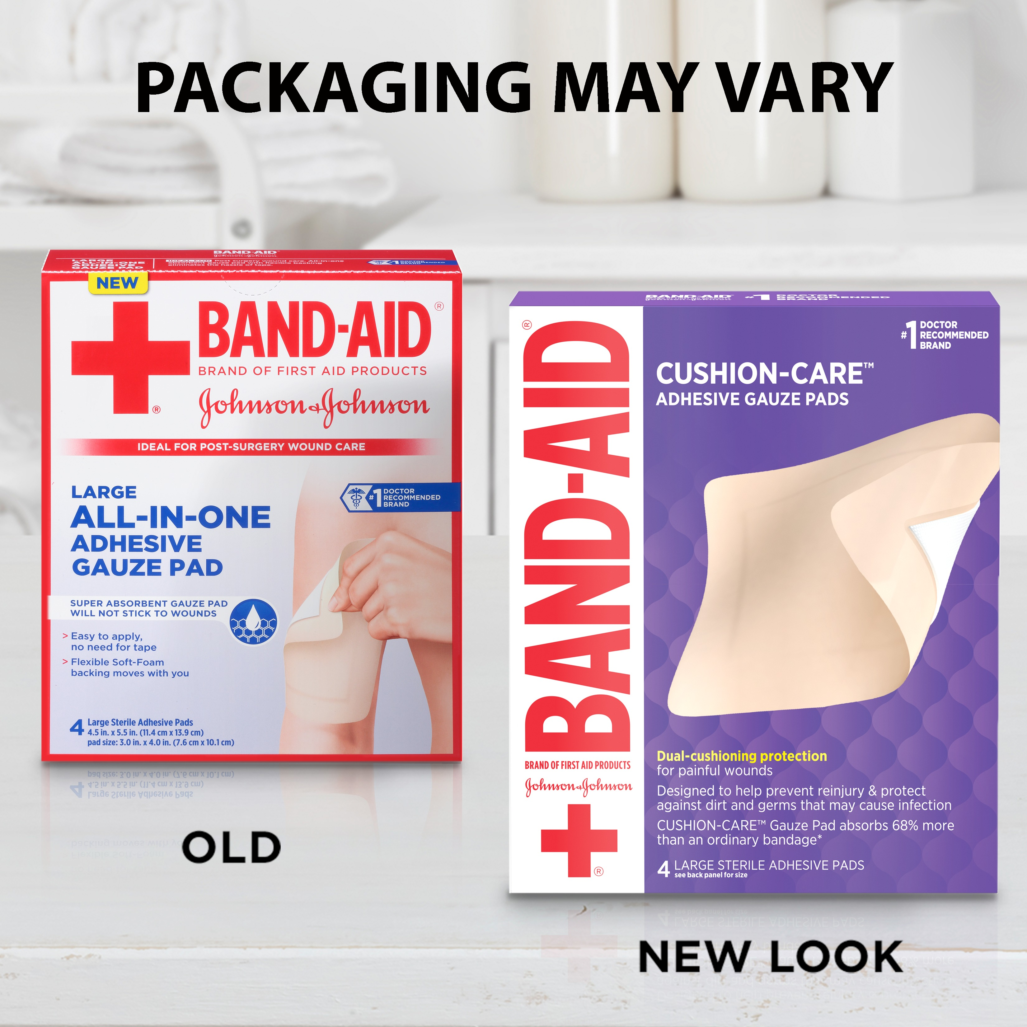 Band-Aid Brand First Aid Adhesive Gauze Pad, 4.5in x 5.5in, 4 ct
