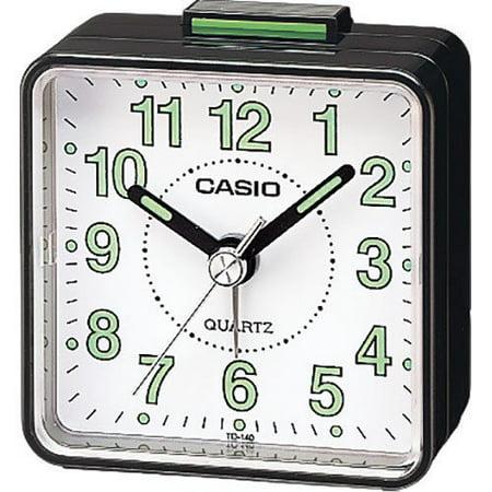 Casio TQ140 Black White Dial Easy Reader Table Top Travel Alarm Clock (TQ140-1B)