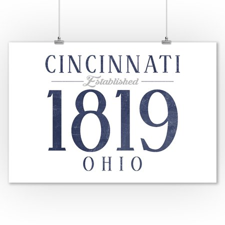 Cincinnati, Ohio - Established Date (Blue) - Lantern Press Artwork (9x12 Art Print, Wall Decor Travel Poster) ()