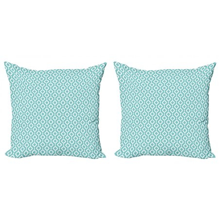 Modern Throw Pillow Cushion Cover Pack of 2, Vertical Oval Shapes Pattern with Dots Waves Curves Abstract Design, Zippered Double-Side Digital Print, 4 Sizes, Pale Blue White, by Ambesonne Smooth Oval Shape