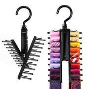 IPOW 2 Pack Black Tie Rack Cross X Hangers Belt Holder Space Saving Closet Organizer for Men w/ 360 Degree Rotated Hooks