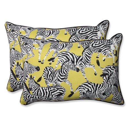 Set Of 2 Zealous Zebras On Yellow Over Sized Rectangular Throw Pillow 24 5