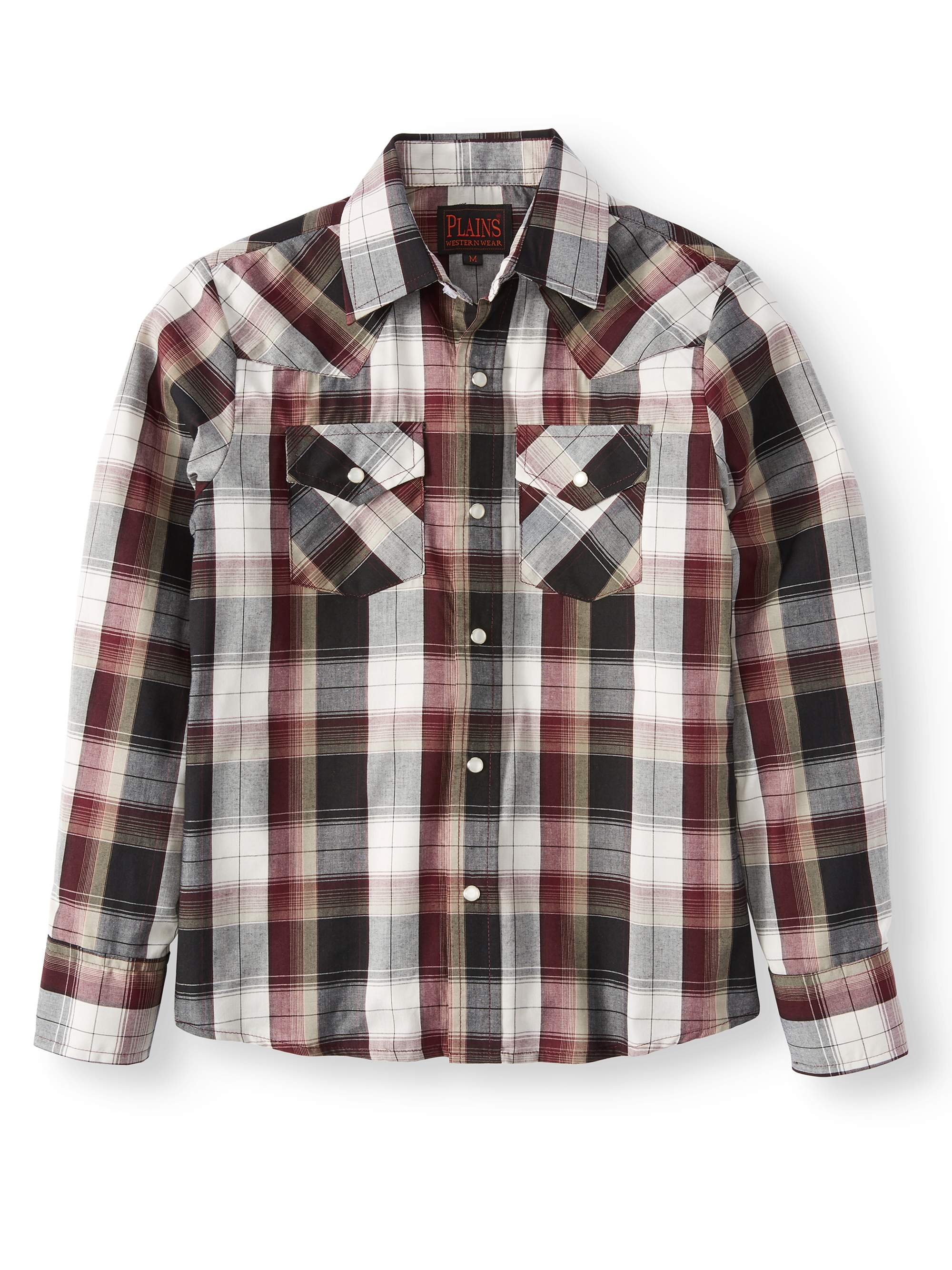 Boys' Long Sleeve Plaid Western Shirt