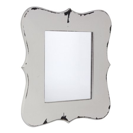 Decorative Farmhouse Worn White Wooden Hanging Wall Mirror Walmart Com