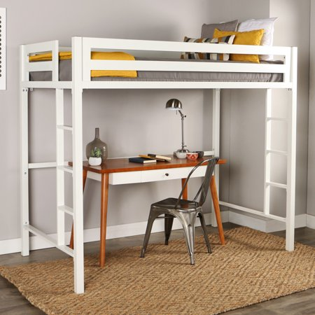 Lovat Green (Manor Park Premium Deluxe Twin Metal Loft Bed - White)