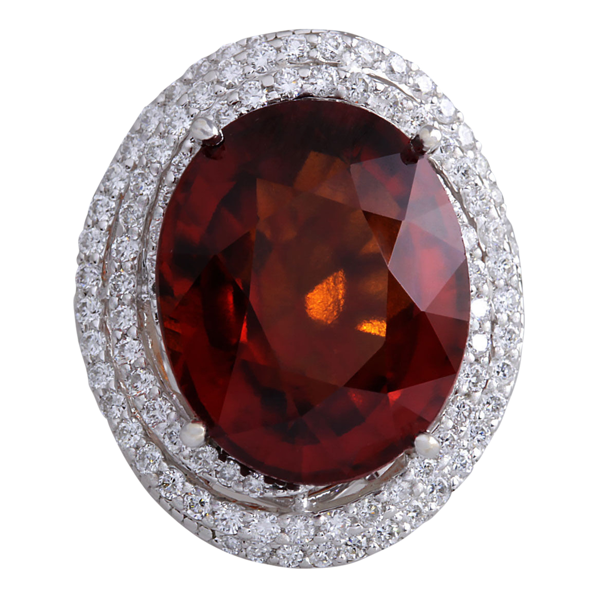 20.25 CTW Natural Hessonite Garnet And Diamond Ring In14K White Gold by