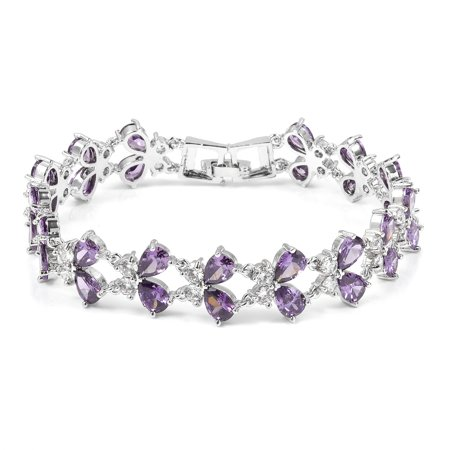- Pear Cubic Zircon Purple White Cubic Zirconia Butterfly Bracelet 8.5