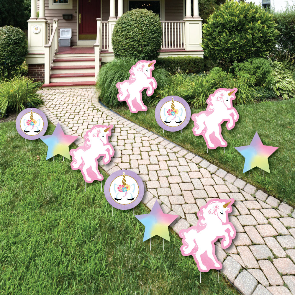 Rainbow Unicorn - Star and Unicorn Lawn Decor - Outdoor Magical Unicorn Baby Shower or Birthday Party Yard Decor - 10 Ct