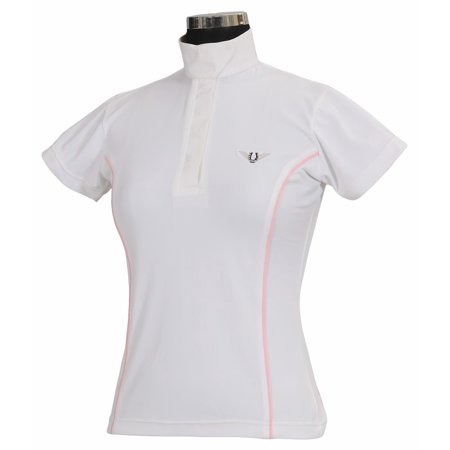 Tuffrider Ladies Show Shirt - TuffRider Ladies Kirby Kwik Dry Short Sleeve Show Shirt - White w/Petal Pink - X - Large