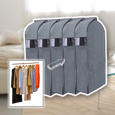 5 Pack Garment Cover For Clothing Iclover Hanging Breathable Storage Bag Covers