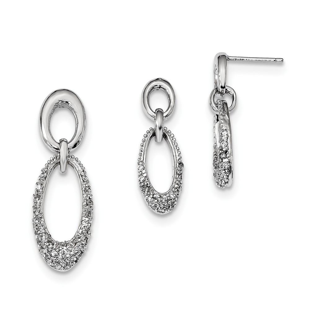 VISTAR Sterling Silver Cubic Zirconia Oval Earring & Pendant Set, Best Quality Free Gift Box by