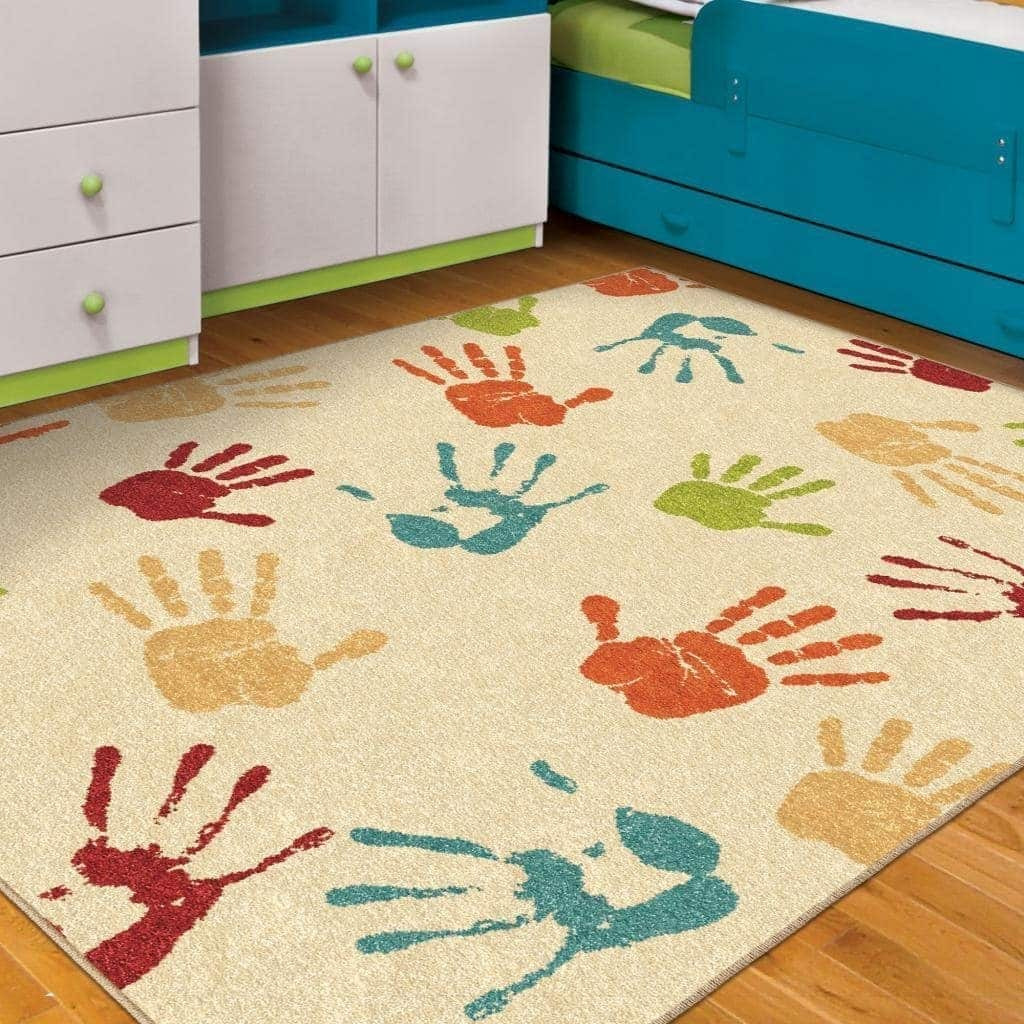 "Carolina Weavers  Playroom Collection Colored High-Five Beige Area Rug - 5'2"" x 7'6"""