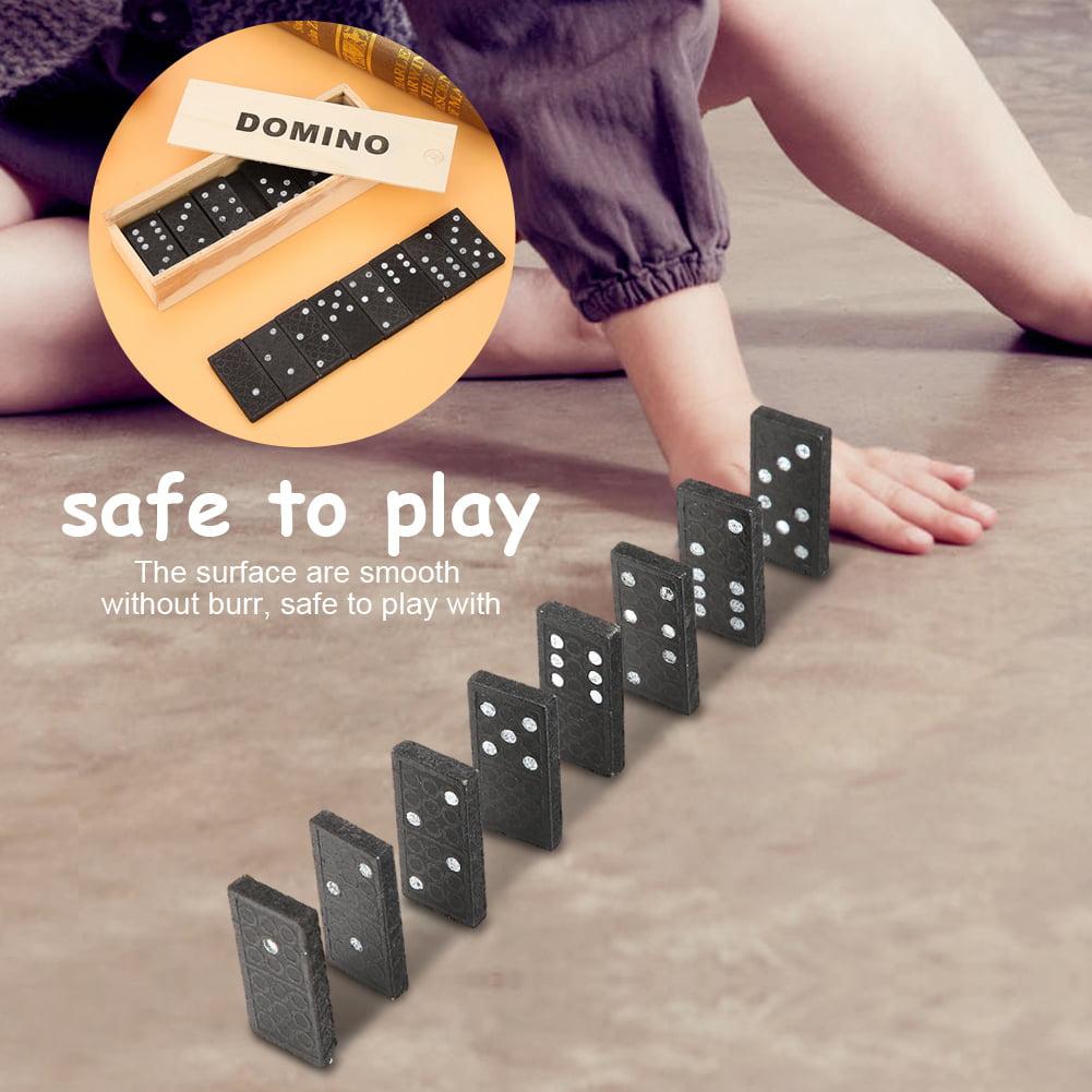 Wooden Dominoes Set for Kids Kids Educational Game Play Toy 28Pcs Preschool Educational Toys Children Gift Black