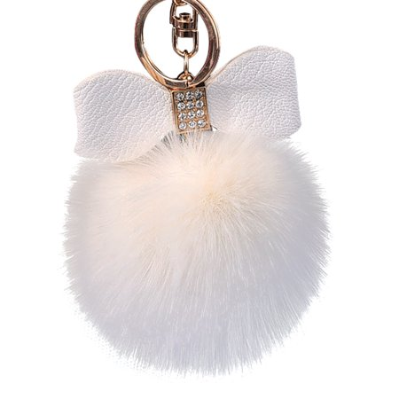 Diamond Rabbit Fur Ball Fox Bowknot Keychain Bag Plush Car Key Ring Pendant -