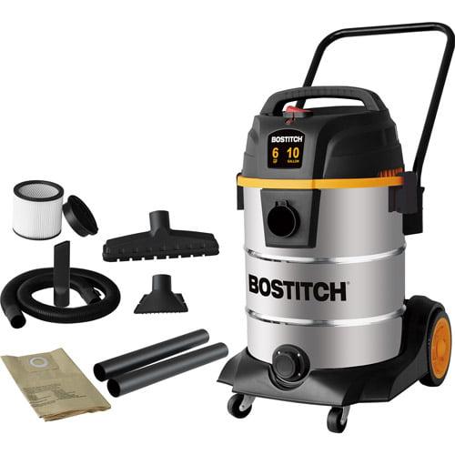 Bostitch 10-gallon, 6-peak horse power, 2-stage motor, stainless steel wet dry vaccum