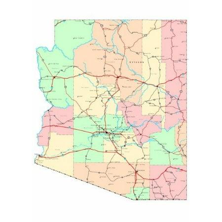 Laminated Poster Arizona Roap Map Glossy Poster Phoenix City County State Az Poster Print 24 x - Party City Phoenix Arizona