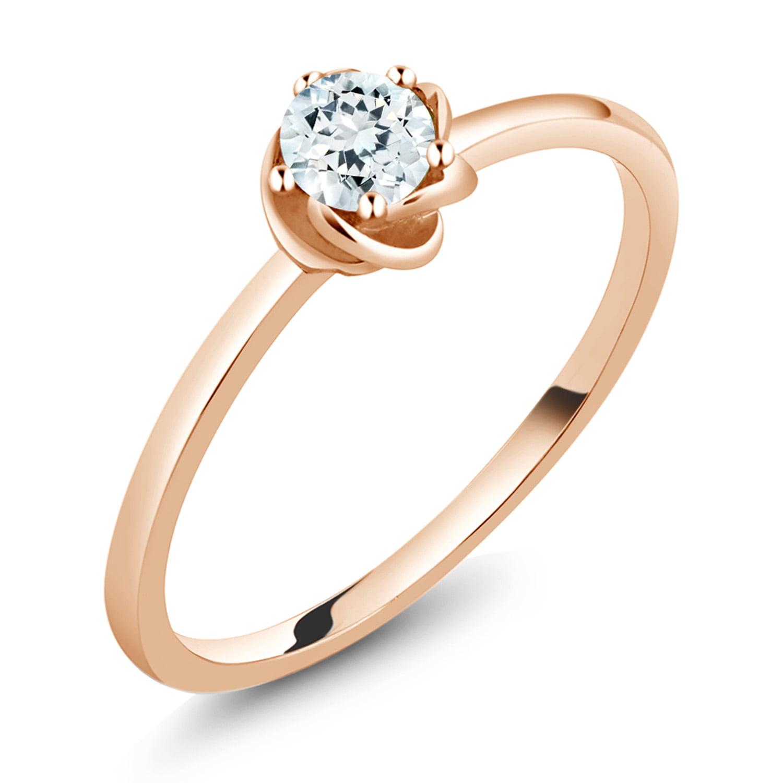 0.17 Ct Round Sky Blue Aquamarine 10K Rose Gold Ring by