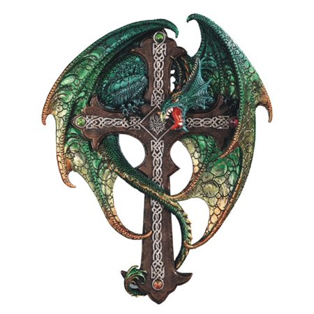 Green Dragon on Cross with Gems Medieval Fantasy Wall Plaque Home Decoration New ()