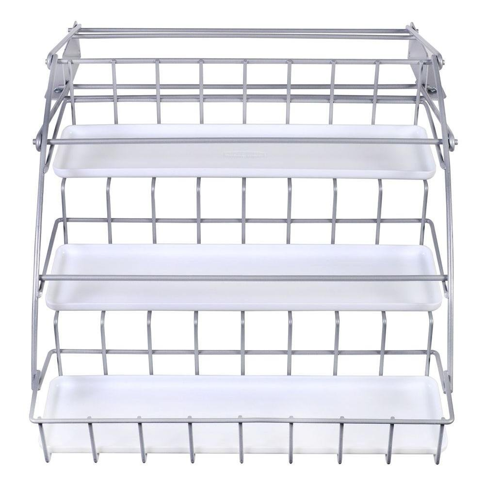 Pull Down White Spice Rack and Satin Nickel, Clear, Pull ...