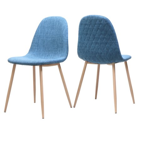 Camden Mid Century Fabric Dining Chairs with Light Walnut Wood Finished Legs, Set of 2, Muted Blue (Camden Camel)