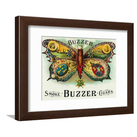 Buzzer Brand Cigar Inner Box Label Vintage Smoking Butterfly Advertisement Framed Print Wall Art By Lantern -