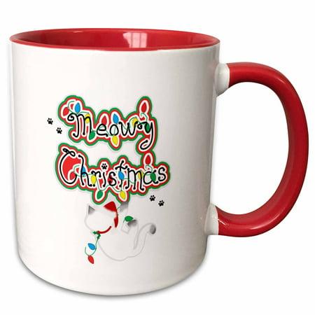 3dRose Fun Whimsical Meowy Christmas Siamese Santa Kitty Cat - Two Tone Red Mug, 11-ounce ()