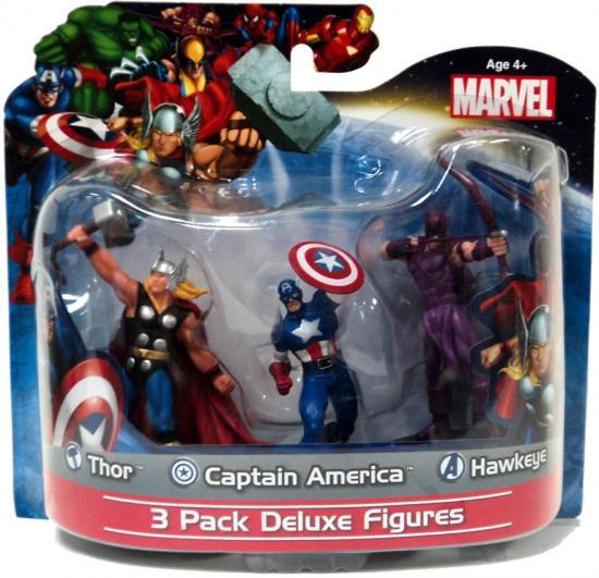 Marvel 4 Inch Deluxe  Figures Thor, Captain America & Hawkeye PVC Figure 3-Pack