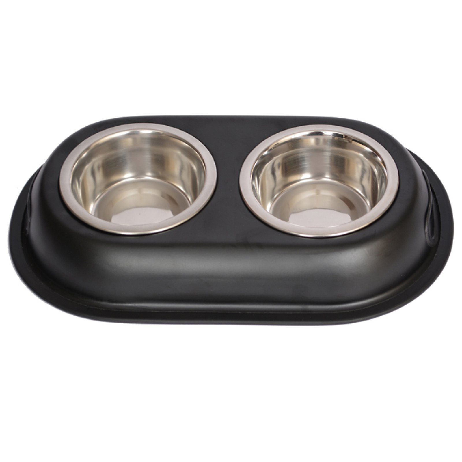 Iconic Pet Color Splash Stainless Steel Double Diner (Black) For Dog/Cat, 1 Pt, 16 Oz, 2 Cup