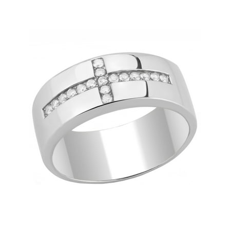 Round Clear CZ Set on Cross 316 Stainless Steel Mens Ring - Size 8 Mens Cross Ring