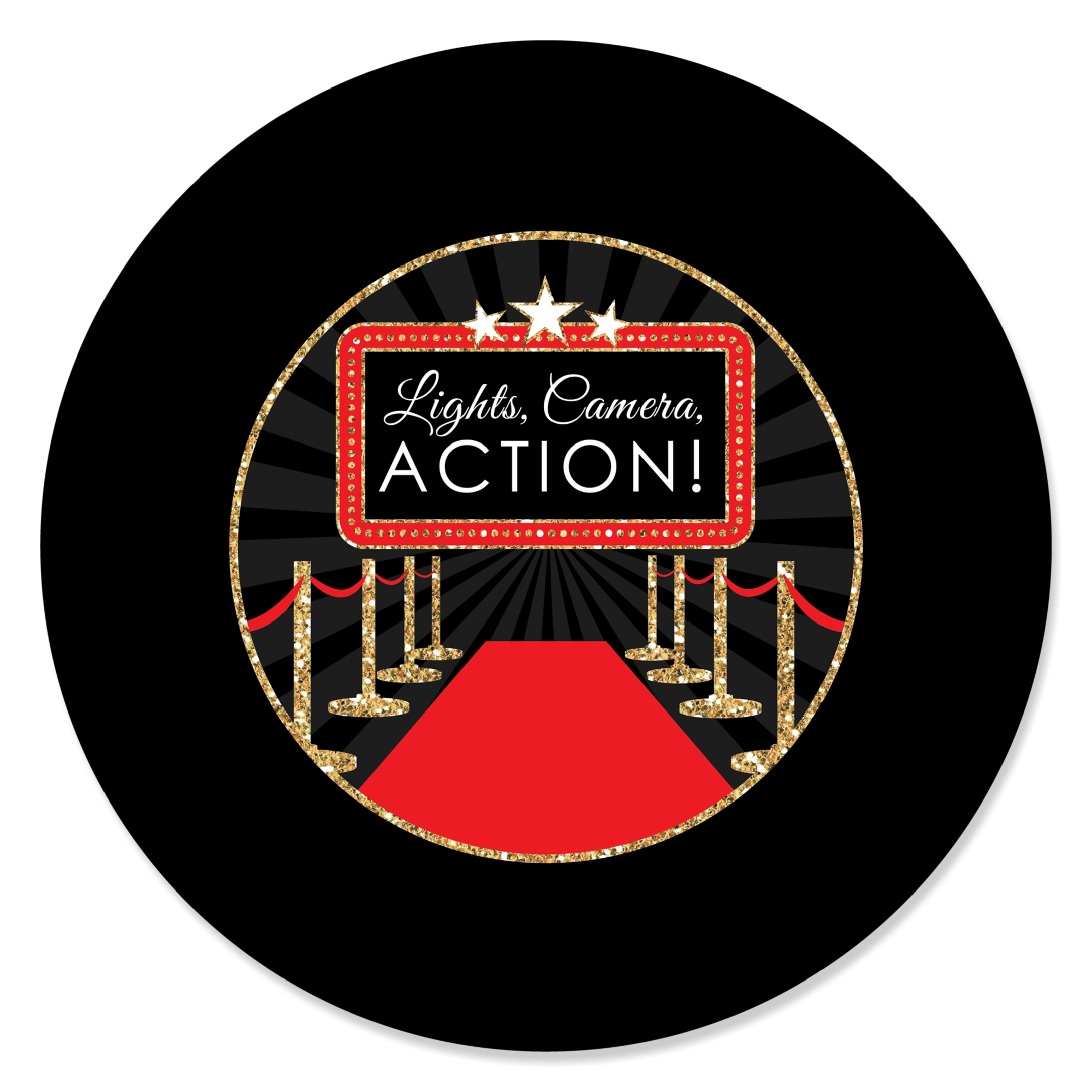 Red Carpet Hollywood - Movie Night Party Circle Sticker Labels - 24 Count