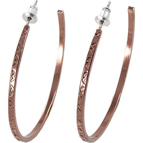 Alexa Starr 3658-EP-TXT-C Thin Copper Hoop Earrings With Etched Design