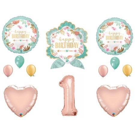 Boho Wild One Arrow 1st Birthday Party Balloons Decoration Supplies  Rose Gold - First Birthday Balloon